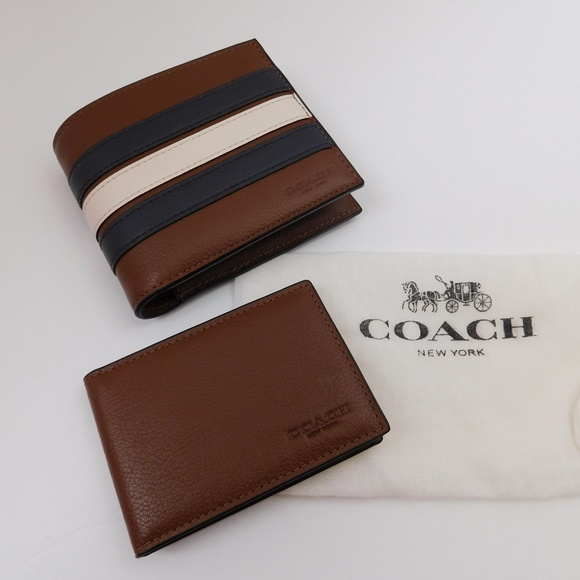 cae0055b9f0db NEW COACH MEN S 3-IN-1 WALLET WITH VARSITY STRIPE